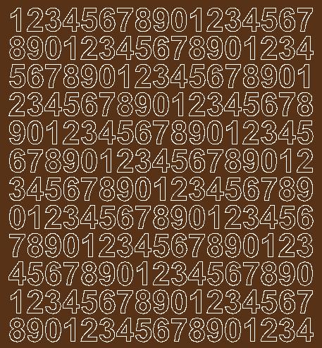 Cyfry samoprzylepne 1.5 cm brązowy z połyskiem