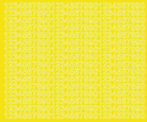 Cyfry samoprzylepne 1 cm żółty z połyskiem