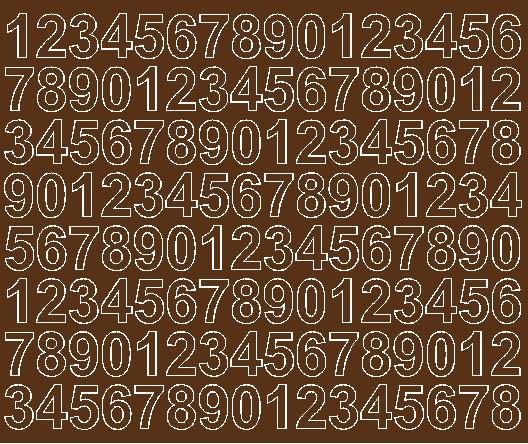 Cyfry samoprzylepne 2 cm brązowy z połyskiem