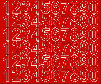Cyfry samoprzylepne 3 cm czerwone z połyskiem