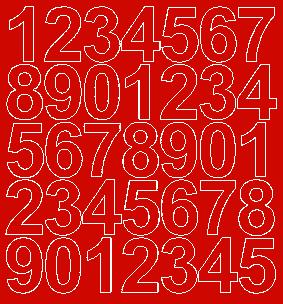 Cyfry samoprzylepne 4 cm czerwone matowy