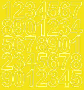 Cyfry samoprzylepne 4 cm żółty z połyskiem