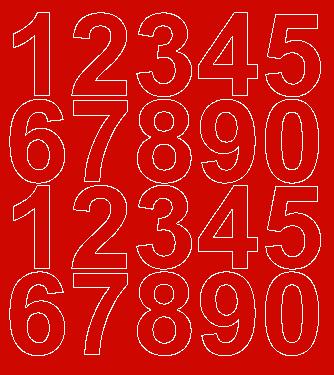 Cyfry samoprzylepne 5 cm czerwone z połyskiem