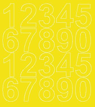 Cyfry samoprzylepne 5 cm żółty z połyskiem