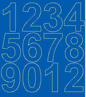 Cyfry samoprzylepne 7 cm niebieski z połyskiem