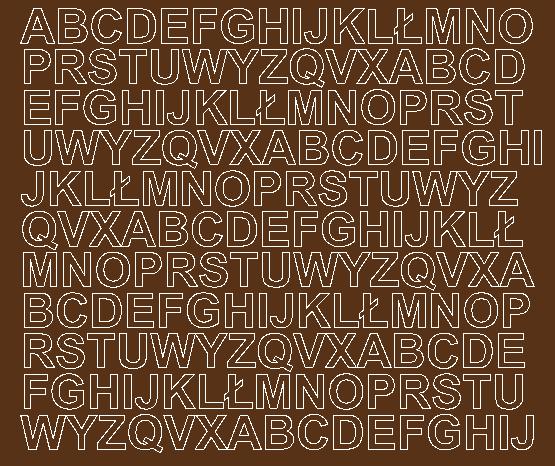 Litery samoprzylepne 1.5 cm brązowy z połyskiem