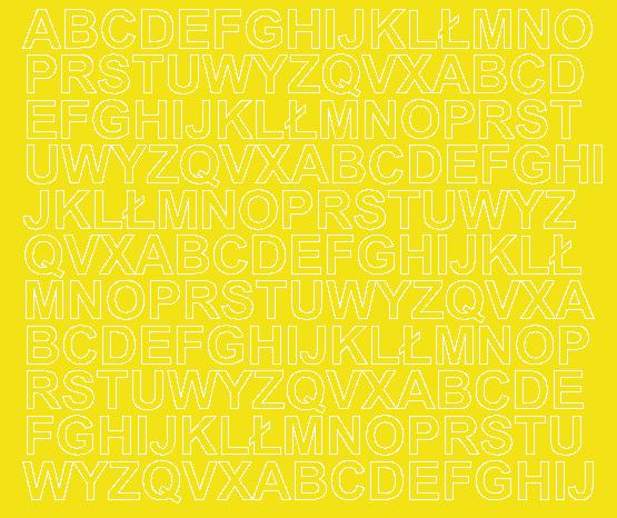 Litery samoprzylepne 1.5 cm żółty z połyskiem