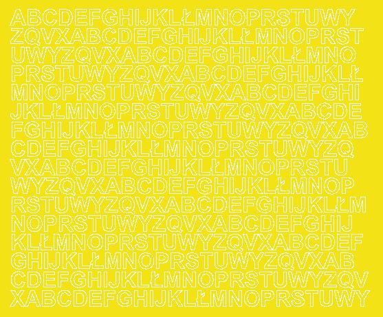 Litery samoprzylepne 1 cm żółty z połyskiem