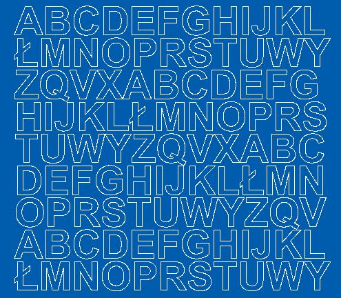 Litery samoprzylepne 2 cm niebieski matowy