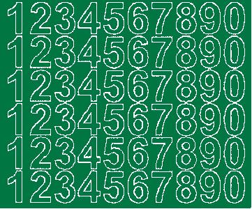 Cyfry samoprzylepne 3 cm zielone z połyskiem