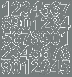 Cyfry samoprzylepne 4 cm szary z połyskiem