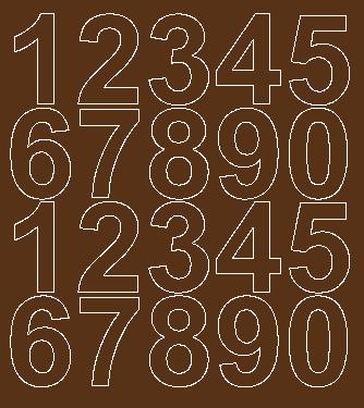 Cyfry samoprzylepne 5 cm brązowy z połyskiem