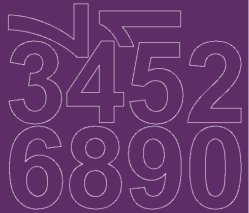 Cyfry samoprzylepne 8 cm fioletowy z połyskiem