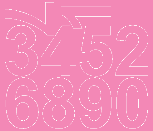 Cyfry samoprzylepne 8 cm różowy z połyskiem