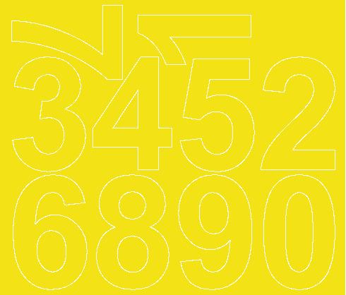 Cyfry samoprzylepne 8 cm żółty z połyskiem