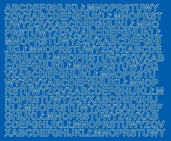 Litery samoprzylepne 1 cm niebieski z połyskiem