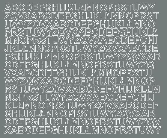 Litery samoprzylepne 1 cm szary matowy