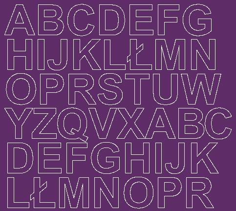 Litery samoprzylepne 3 cm fioletowy z połyskiem