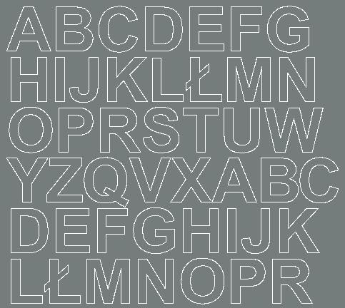 Litery samoprzylepne 3 cm szary z połyskiem