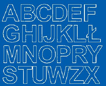 Litery samoprzylepne 4 cm niebieski z połyskiem