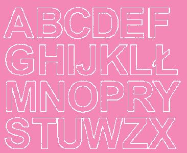 Litery samoprzylepne 4 cm różowy z połyskiem