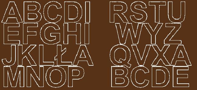 Litery samoprzylepne 5 cm brązowy z połyskiem